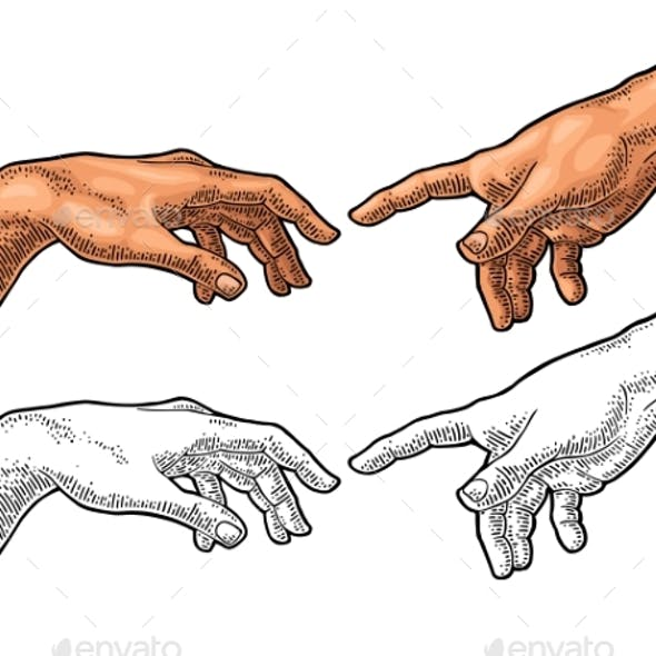 Male Finger Pointing Touch God Hand