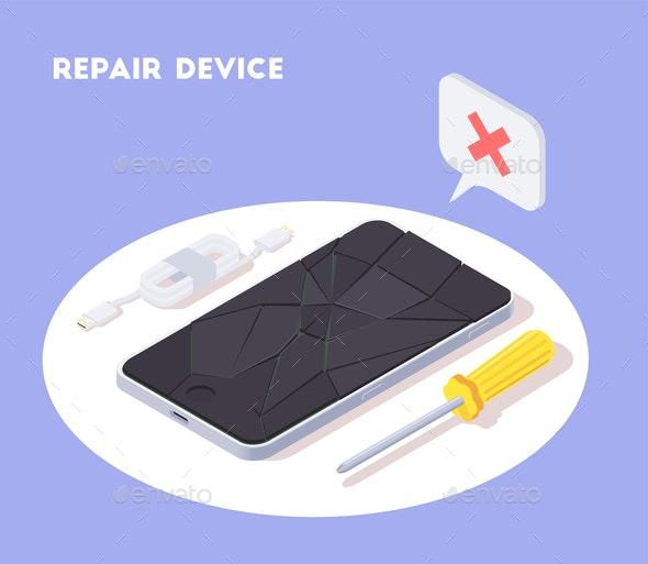 Broken Smartphone Repair Background - Industries Business