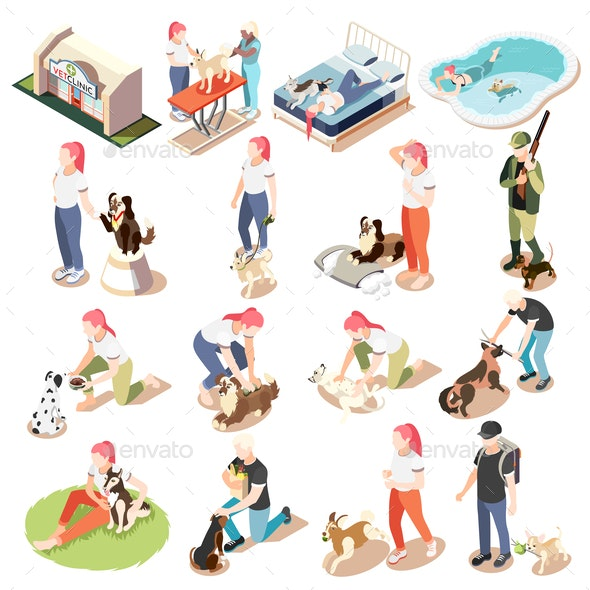 Ordinary Life of Man and His Dog Isometric Icon Set - People Characters