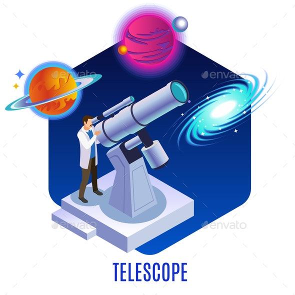 Astrophysics Isometric Background - Miscellaneous Vectors