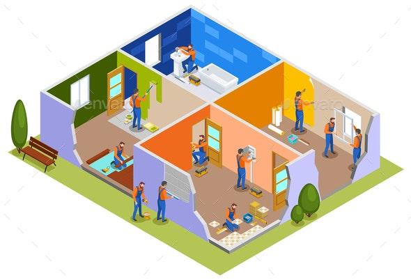 Home Repair Isometric Composition - Miscellaneous Vectors