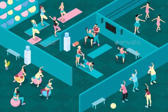 Gym Horizontal Isometric Illustration - Sports/Activity Conceptual