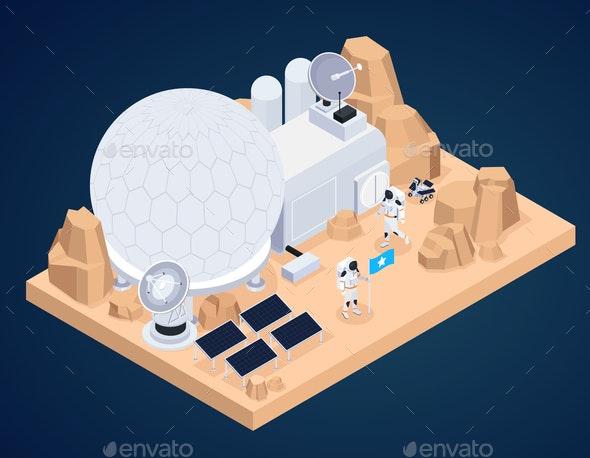 Planet Base Isometric Composition - Miscellaneous Vectors
