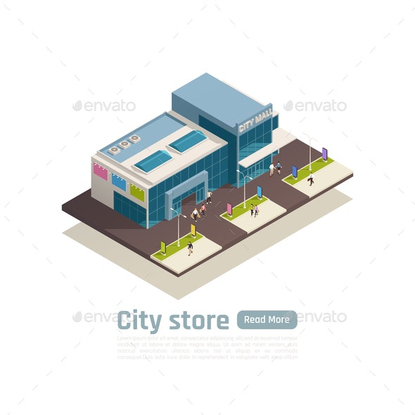 Shopping Center Isometric Composition - Buildings Objects