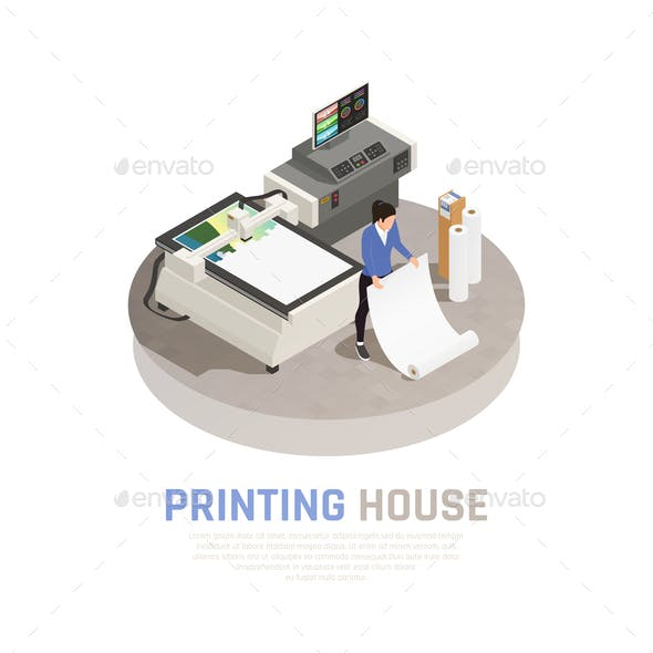 Isometric Printing House Polygraphy Composition