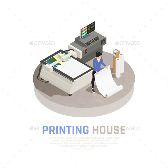 Isometric Printing House Polygraphy Composition - Industries Business