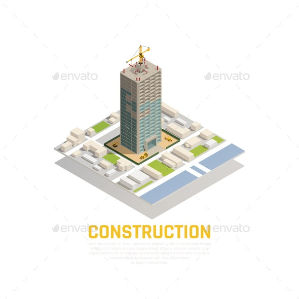 Isometric Construction Composition - Buildings Objects