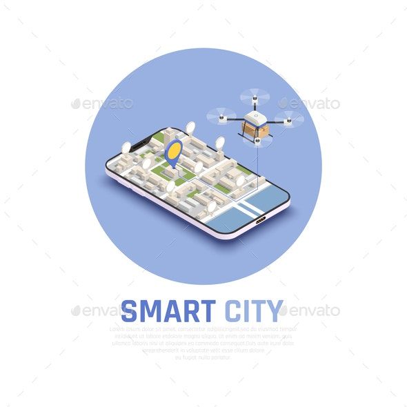 Smart City Isometric Composition - Buildings Objects