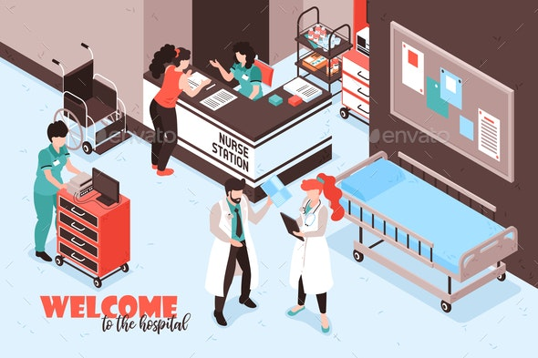 Welcome Hospital Isometric Background - Health/Medicine Conceptual
