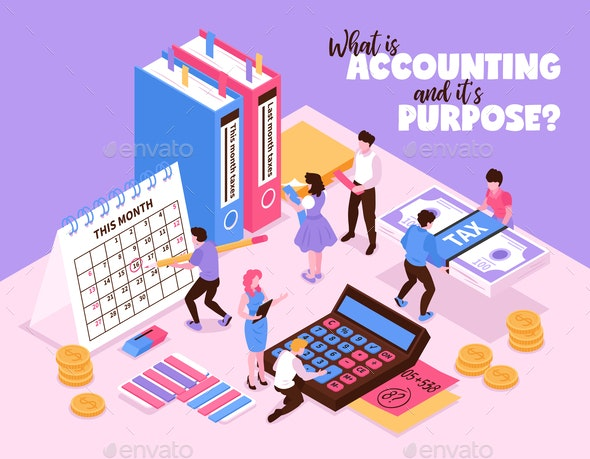 Isometric Accounting Background Concept - People Characters
