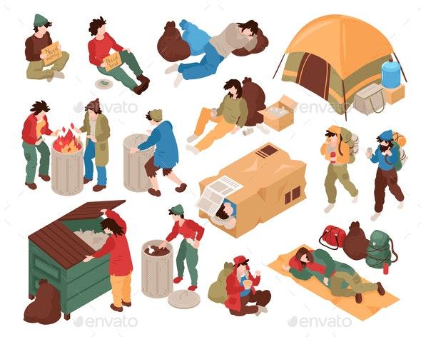 Homeless People Isometric Set - People Characters