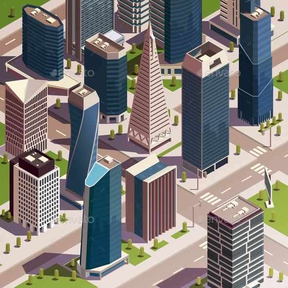 Isometric Urban Skyscrapers Composition - Buildings Objects
