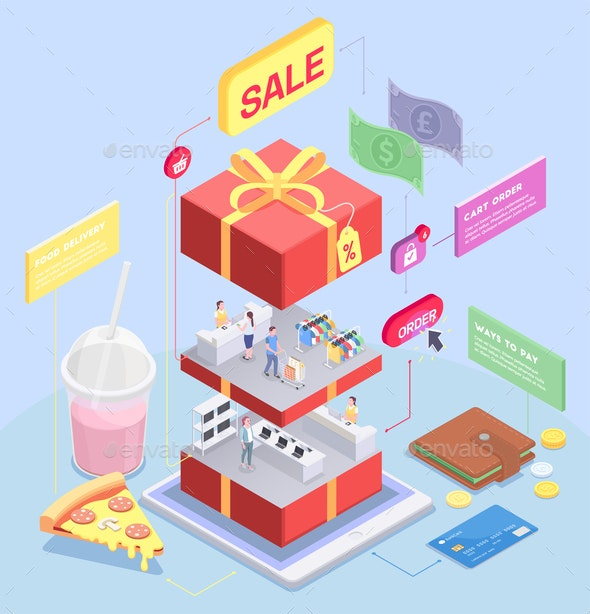 Isometric Shopping Sale Composition - Concepts Business