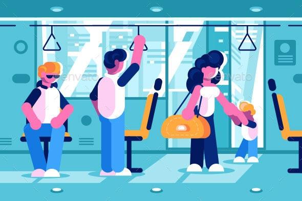 Passengers Inside the Bus - Miscellaneous Vectors