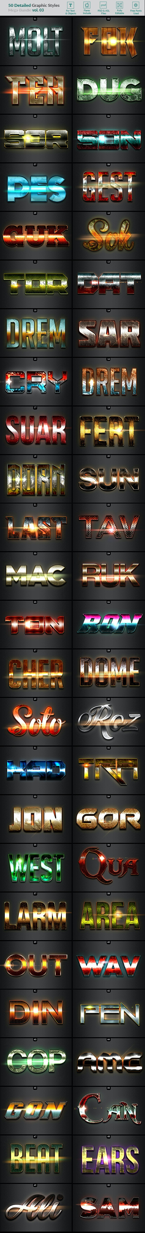 50 Text Effects - Bundle Vol. 03 - Text Effects Styles