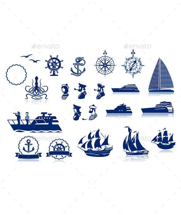 Sailing Silhouettes Set