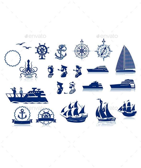 Sailing Silhouettes Set - Travel Conceptual