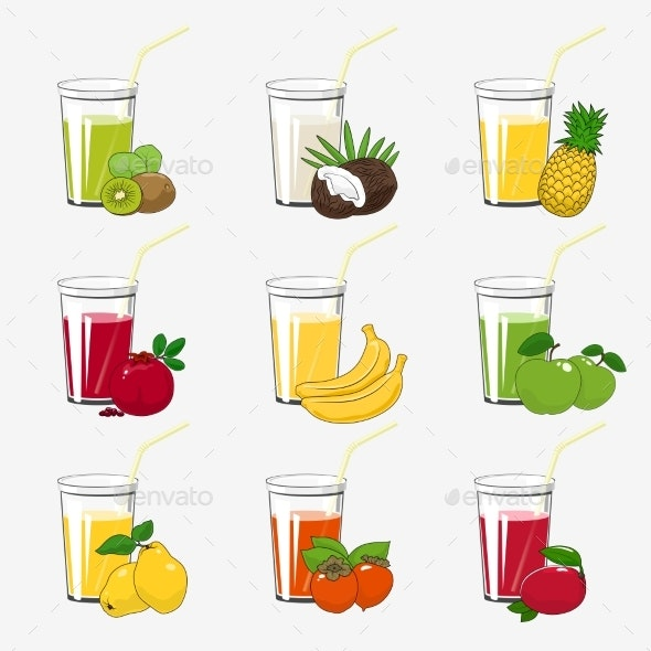 Set of Fresh Tropical Fruit Juices - Food Objects