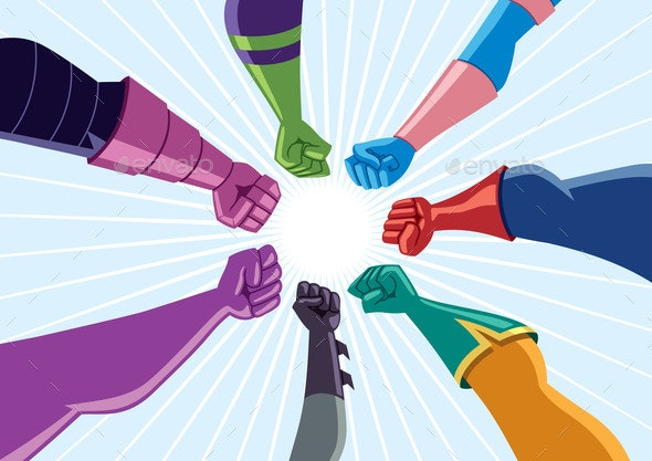 Superhero Team Assemble - People Characters