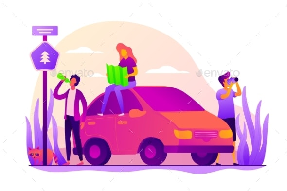 Road Trip Vector Concept Vector Illustration. - Travel Conceptual