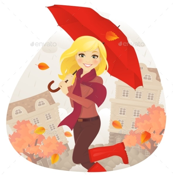 Girl with Umbrella in Fall - Miscellaneous Vectors