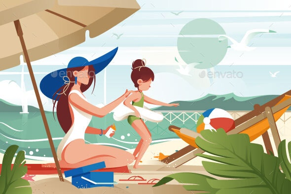 Flat Young Woman Mother with Hat Smears Sunblock - Miscellaneous Vectors
