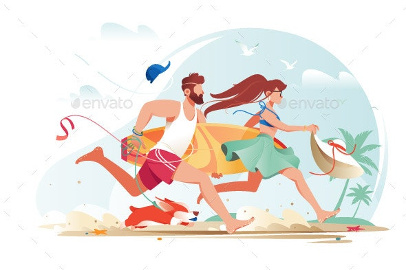Flat Young Man with Beard Surfboard and Girl - Miscellaneous Vectors