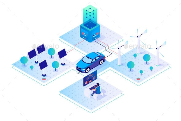 Isometric Car Businessman with Green Energy - Technology Conceptual