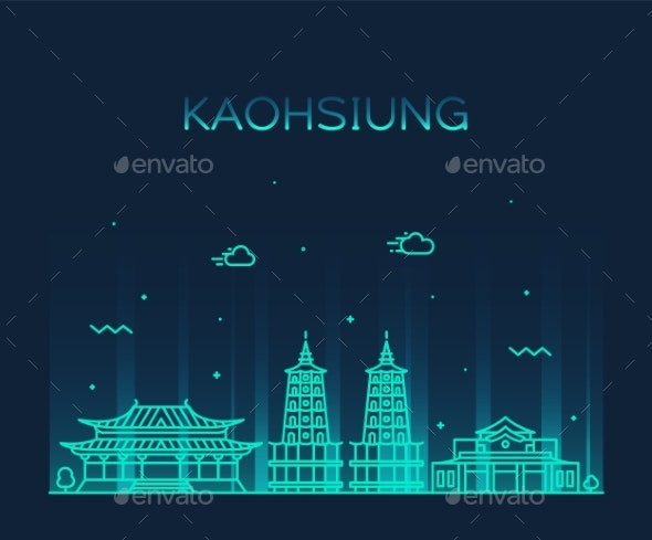 Kaohsiung Skyline Taiwan Vector City Linear Style - Buildings Objects