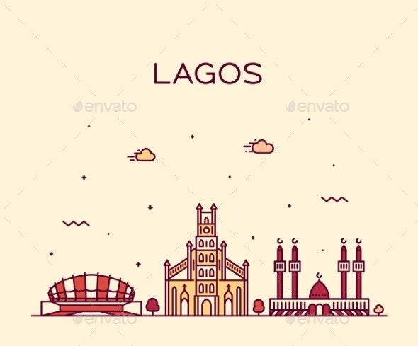 Lagos Skyline Nigeria Vector City Linear Style - Buildings Objects