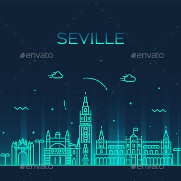Seville Skyline Spain Vector Linear Style City