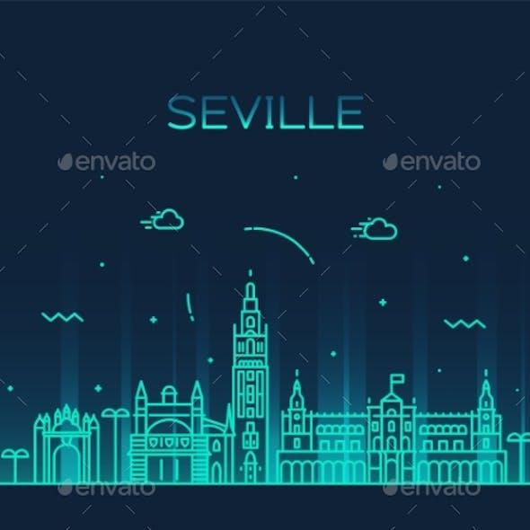 Seville Skyline Spain Vector Linear Style City