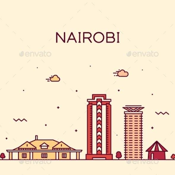 Nairobi Skyline Kenya Vector City Linear Style