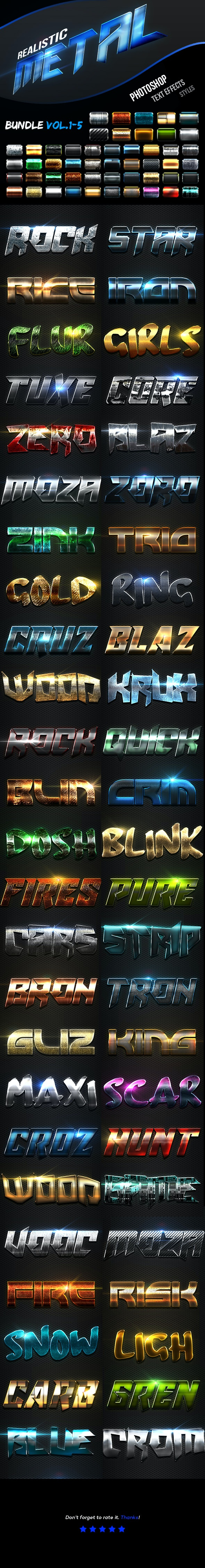 Realistic Metal Text Effects Bundle I - Text Effects Actions