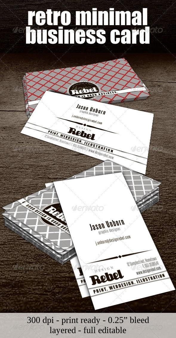 Retro Minimal Business Card - Retro/Vintage Business Cards