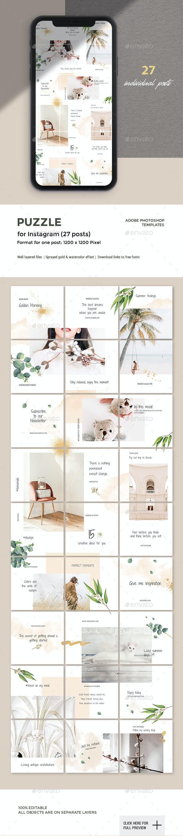 Instagram Puzzle - 27 Posts - Social Media Web Elements