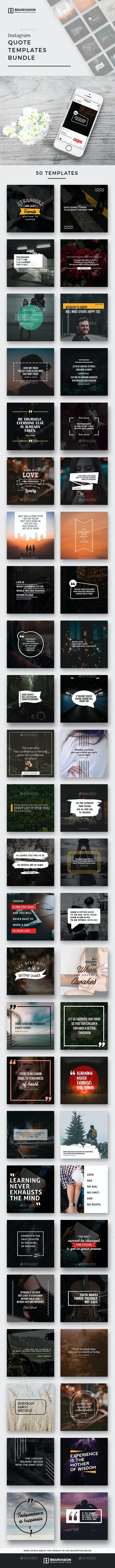 50 Instagram Quote Templates (Bundle) - Miscellaneous Social Media