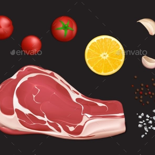 Raw Marbled Meat Fillet