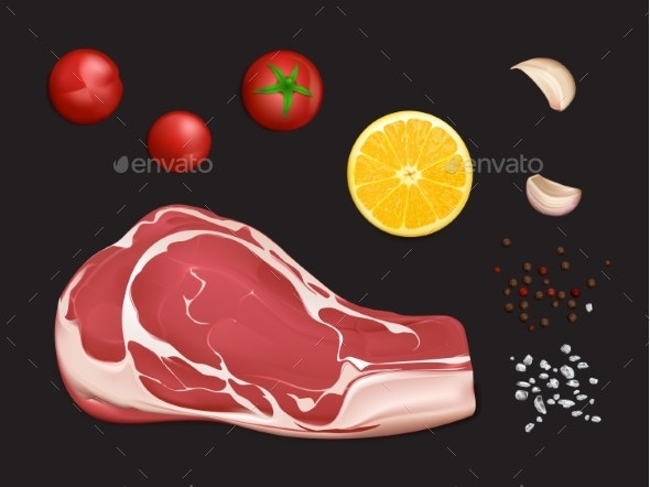 Raw Marbled Meat Fillet - Food Objects
