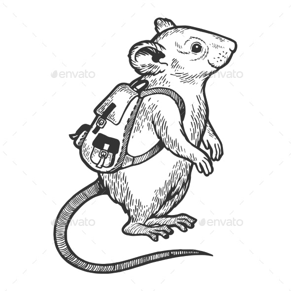 Cartoon Mouse and Backpack Sketch Engraving Vector - Animals Characters
