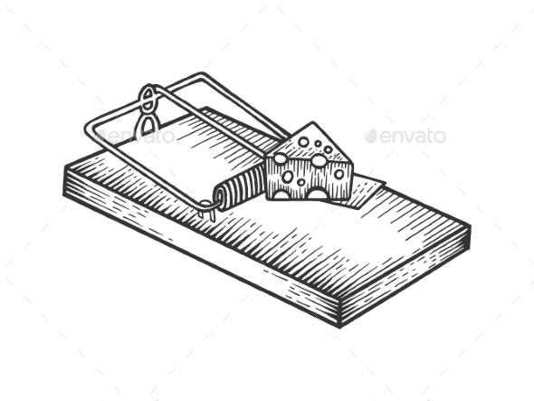 Mousetrap and Cheese Sketch Engraving Vector - Miscellaneous Vectors