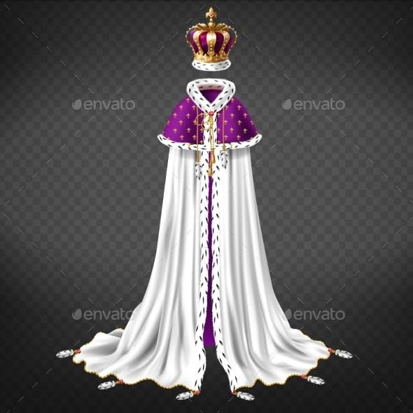 Medieval Monarch Ceremonial Cloth Realistic Vector
