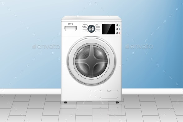Realistic Washing Machine in Empty Laundry Room - Man-made Objects Objects