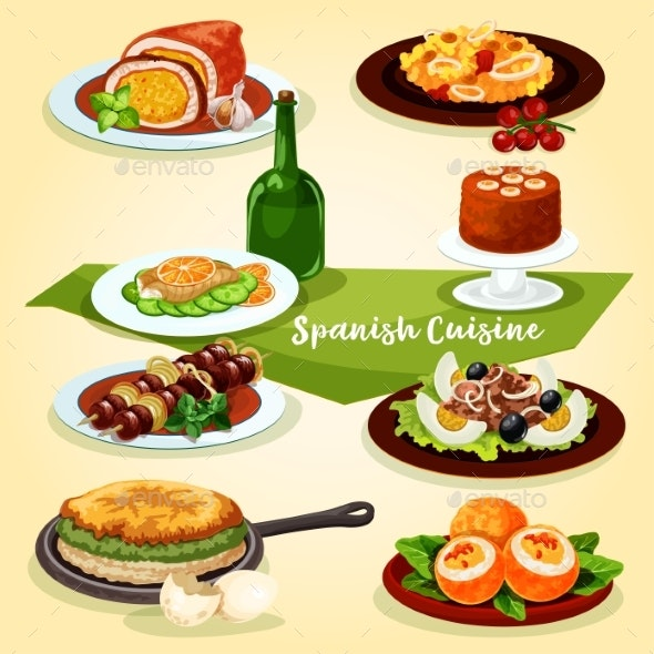 Spanish Cuisine Lunch with Dessert Cartoon Icon - Food Objects