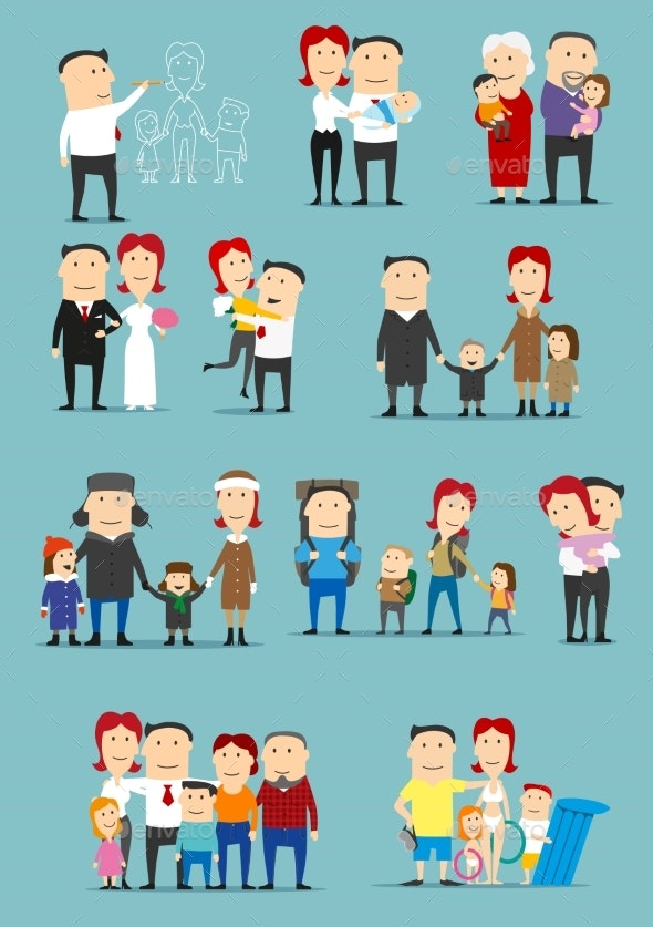 Family Activity Cartoon Character Set Design - People Characters