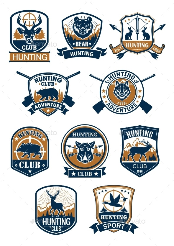 Hunting Sport Symbol and Hunter Club Badge Set - Sports/Activity Conceptual