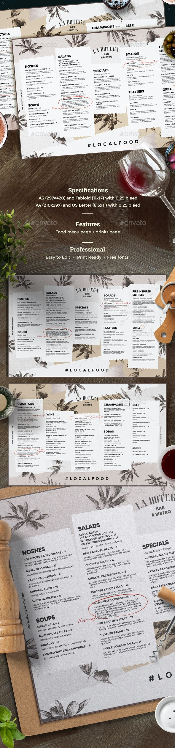 Rustic Menu - Food Menus Print Templates