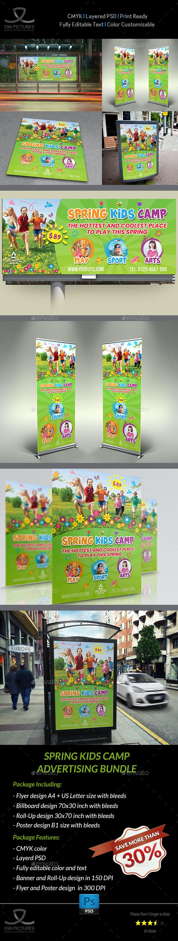 Spring Kids Camp Advertising Bundle - Signage Print Templates