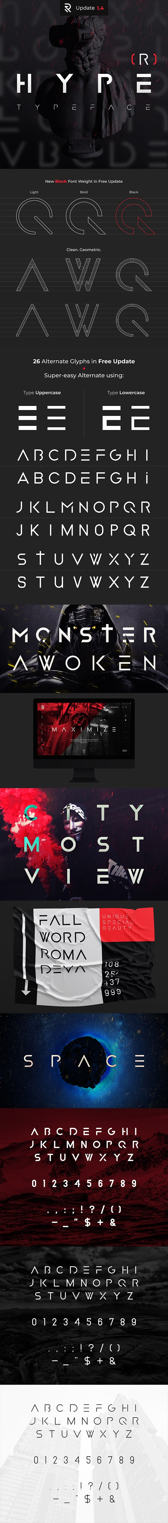 HYPE(R) Strong Modern Font - Futuristic Decorative