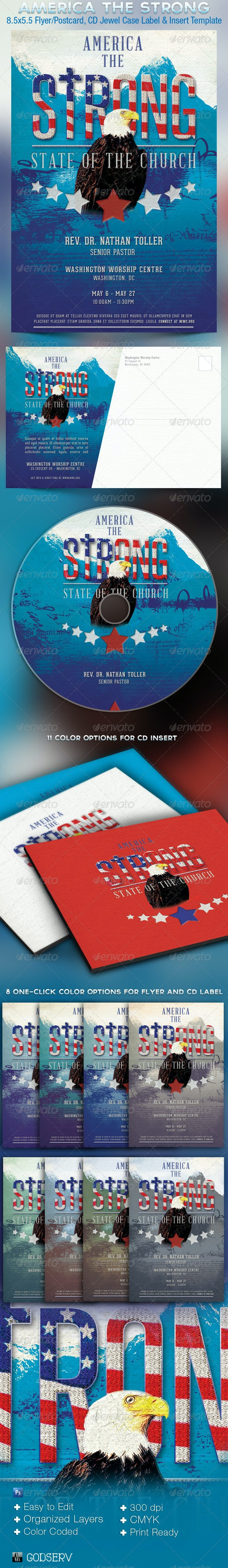 Strong America Church Flyer CD Template - Church Flyers